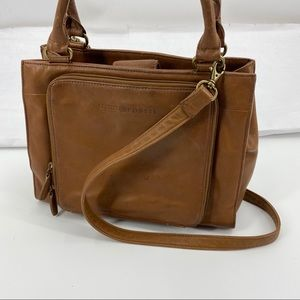 Fossil brown leather satchel crossbody